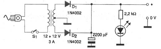 Figura 8 - Uma fonte de alimentação simples para o amplificador.