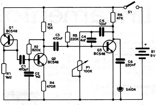 circuito gerador de ruído branco amplificado