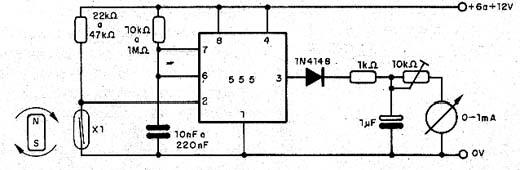 Tacômetro com reed switch.