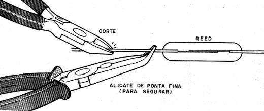 Modo de cortar um terminal de um reed.
