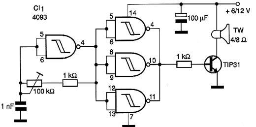 Circuito emissor de ultra-sons.