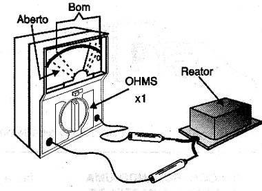 Testando um reator com o multímetro.